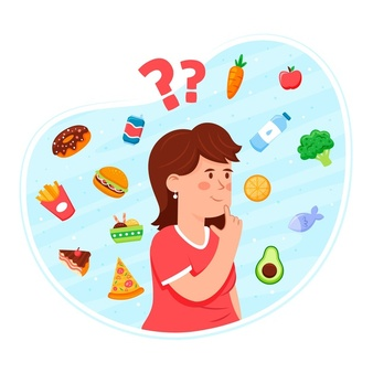 choosing-healthy-unhealthy-food-with-woman-thinking_23-2148558869
